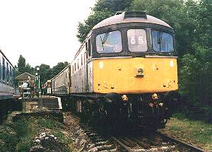 33065 at Eythorne on the leading end with the last train of the day, 15th July 2001. photo B.Thomas