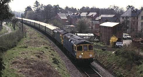 33034 + 33005 approaching Llandrindod Wells with VSOE stock from Ealing Broadway, 19/4/85
