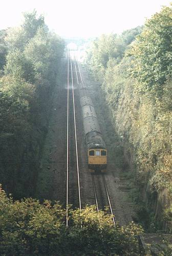 Unidenified Crompton dropping down to the Severn Tunnel, 12/10/85, East bound