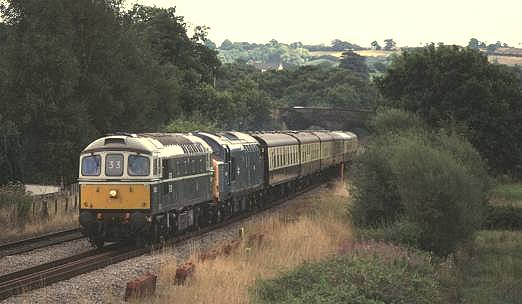 33208 + 37029, 1Z71 Cardiff-Crewe ECS route learning trip,passing Ponthir (Caerleon) 14/8/99
