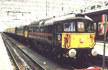 33108 + 021 stand at Glasgow Central<br /> having arrived with the 1Z33 from Crewe
