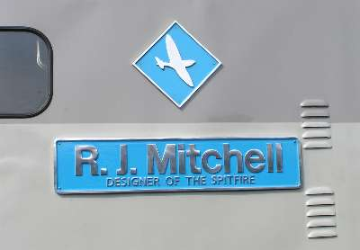 The RJ Mitchell nameplate and miniature Eastleigh Depot plaque.