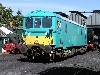 in Arriva undercoat, SVR resident ED 73140 about to move off shed, 7th Aug.
