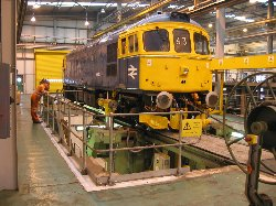 33063 at Temple Mills in the tyre turning bay, 8/2/05, photo C.Smith